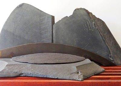 Jan King. Nude and the Mountain, 1998. Slate and steel 36cm x 81cm x 30cm