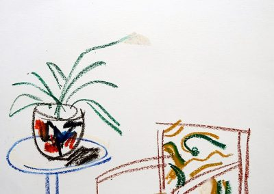 Vicki Vavaressos. Chair and Jardinere, 1985. Crayon on paper 38cm x 49cm